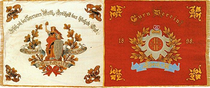 Vereinsfahne des TV Lorchs von 1898.