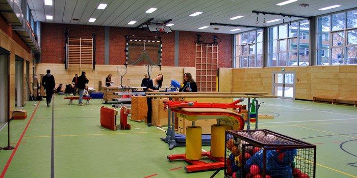 Die Turnhalle der Wisperschule von innen