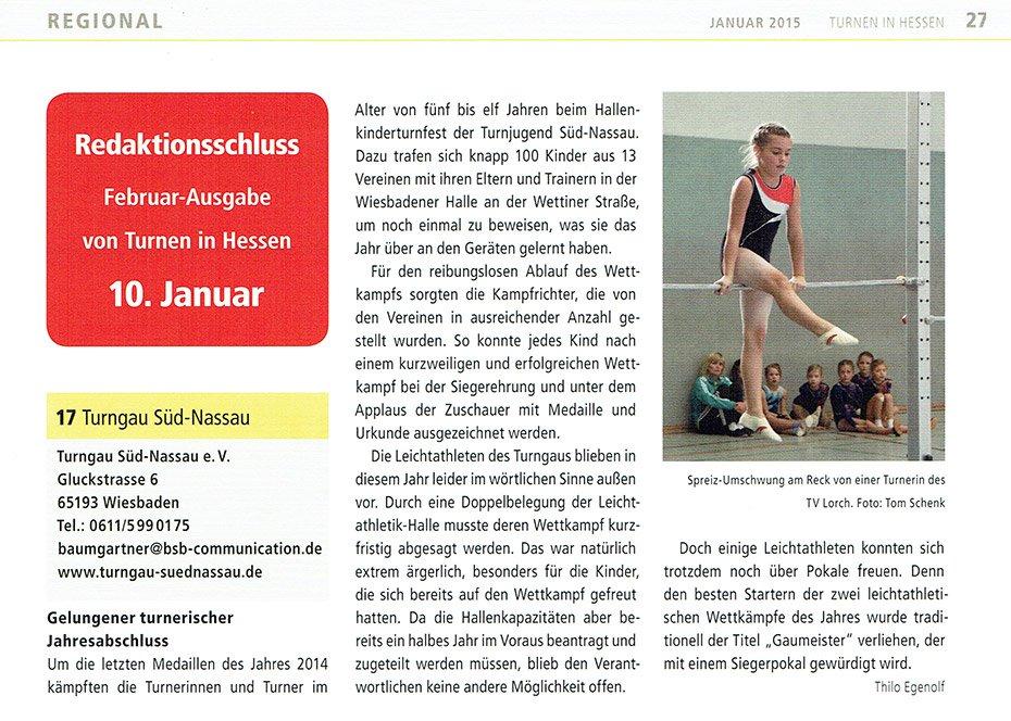 Bericht vom Hallenkinderturnfest 2014